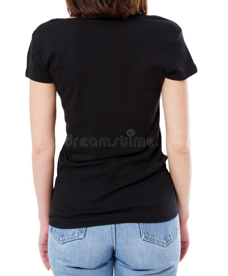 黑T恤杉的后面看法妇女在白色背景,空白 库存照片