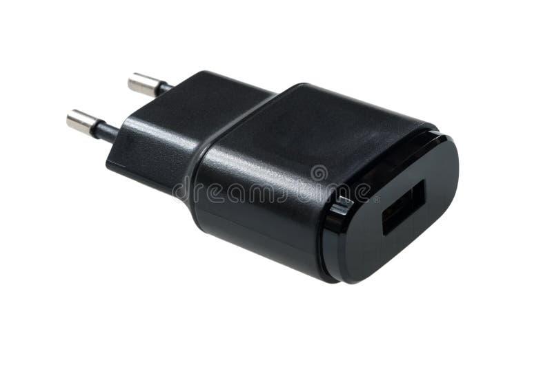 黑usb墙壁充电器插座 免版税库存照片