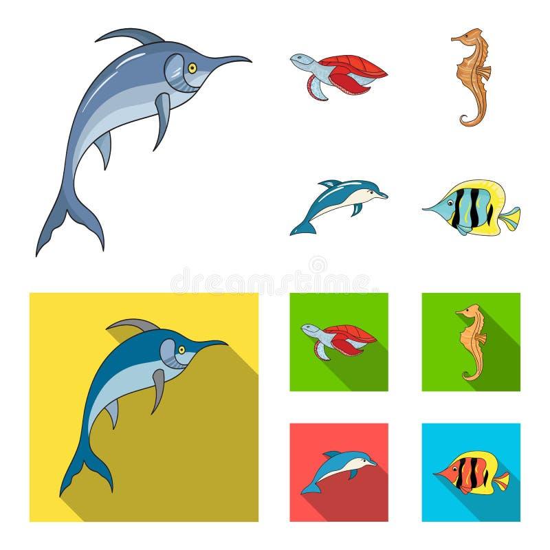 默林、乌龟和其他种类 海洋动物设置了在动画片,平的样式传染媒介标志股票例证的汇集象 皇族释放例证