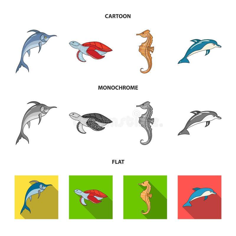 默林、乌龟和其他种类 海洋动物设置了在动画片,平,单色样式传染媒介标志股票的汇集象 向量例证