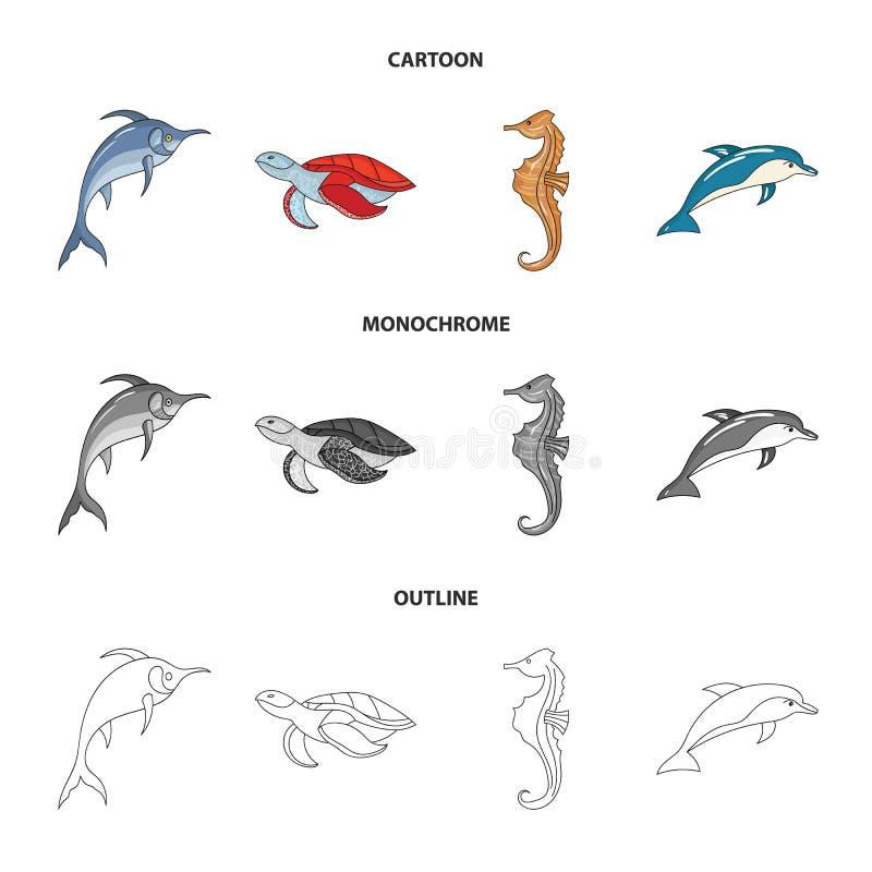 默林、乌龟和其他种类 海洋动物设置了在动画片,概述,单色样式传染媒介标志的汇集象 向量例证