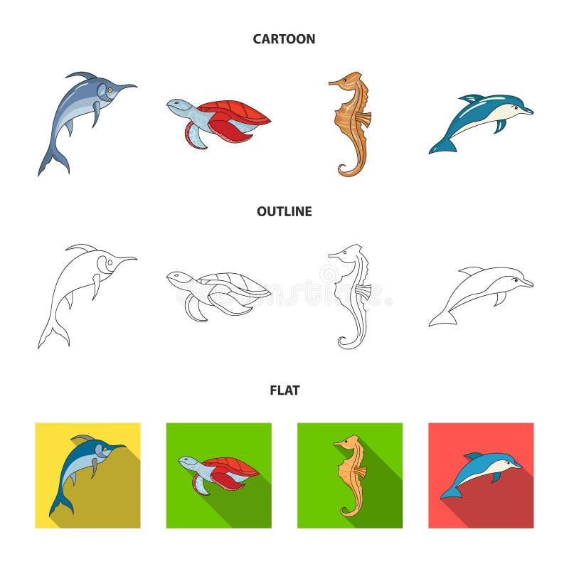 默林、乌龟和其他种类 海洋动物设置了在动画片,概述,平的样式传染媒介标志股票的汇集象 库存例证