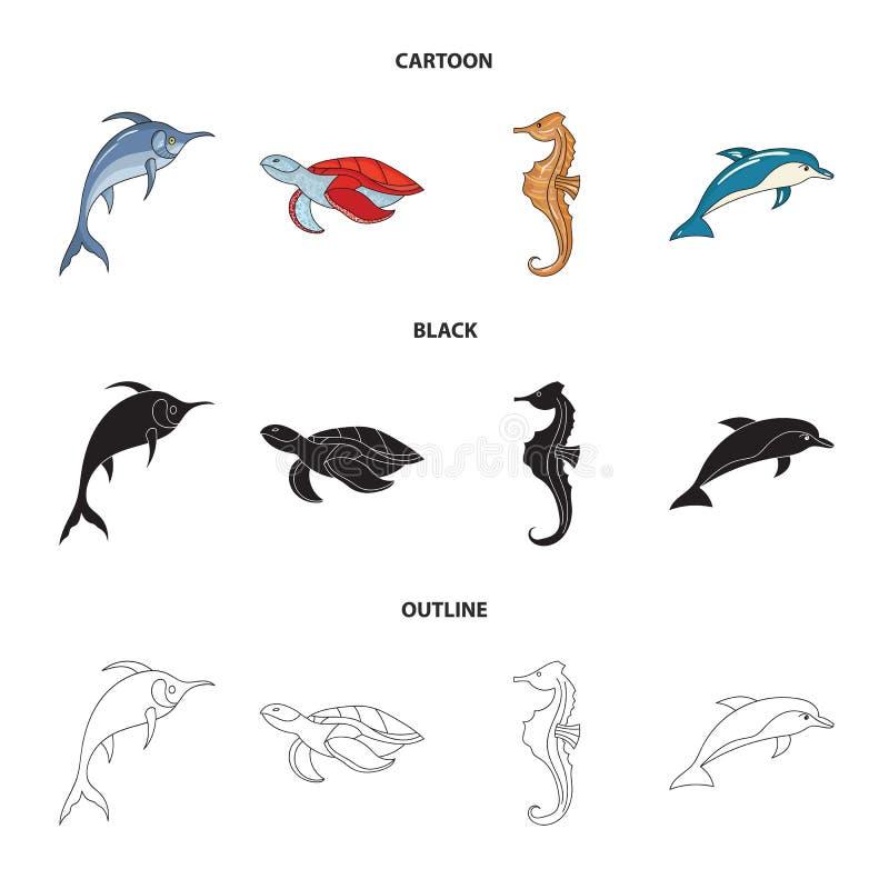 默林、乌龟和其他种类 海洋动物设置了在动画片,黑色,概述样式传染媒介标志股票的汇集象 向量例证