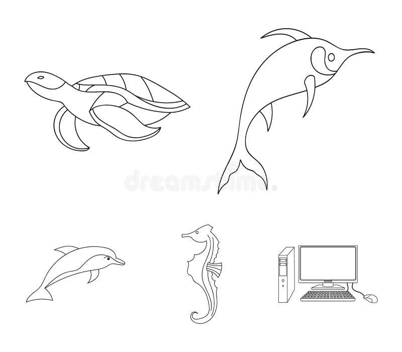 默林、乌龟和其他种类 海洋动物设置了在概述样式传染媒介标志股票例证网的汇集象 向量例证