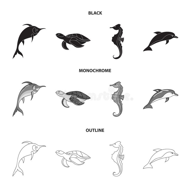 默林、乌龟和其他种类 海洋动物设置了在黑的汇集象,单色,概述样式传染媒介标志股票 皇族释放例证