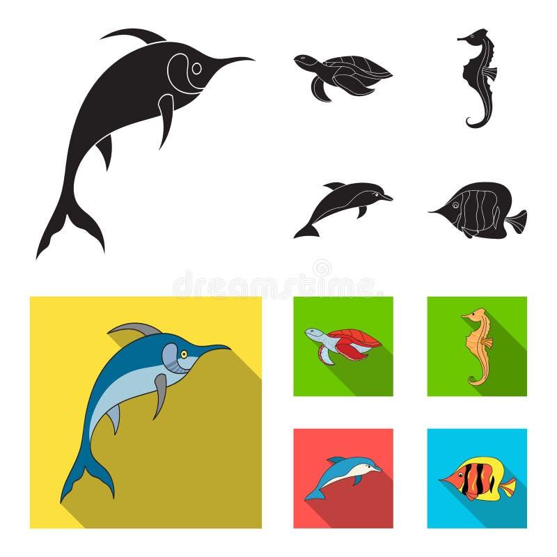 默林、乌龟和其他种类 海洋动物设置了在黑,平的样式传染媒介标志股票例证的汇集象 库存例证