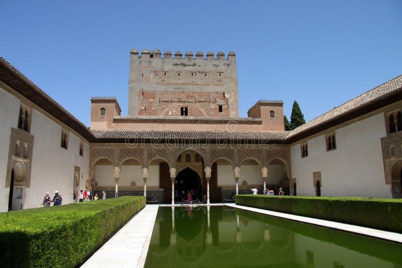 默特尔庭院在阿尔罕布拉的科马雷斯的宫殿在格拉纳达 库存图片