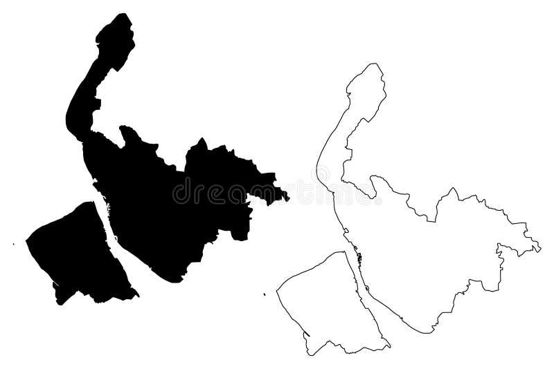 默西赛德郡地图传染媒介 皇族释放例证