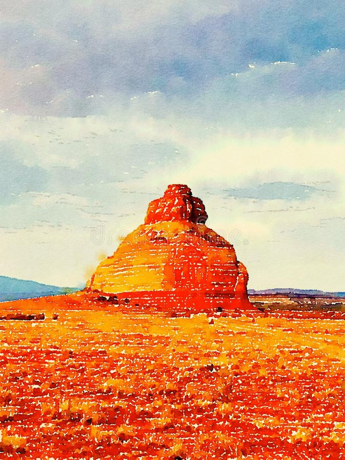 默阿布在水彩,默阿布犹他的沙漠风景 库存图片