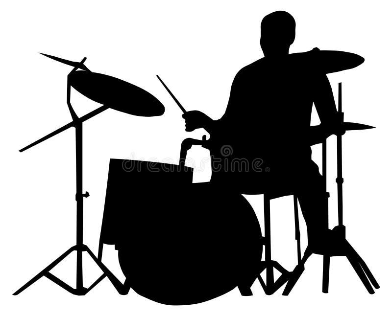 鼓手剪影 库存例证
