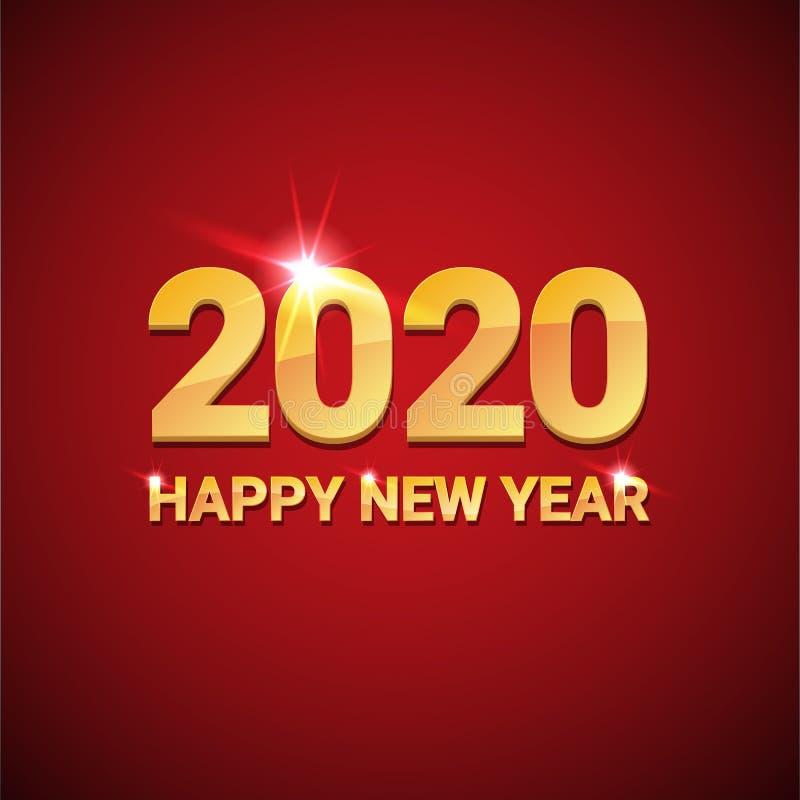 鼠创造性的设计背景或贺卡的2020愉快的春节 在红色的2020个新年金黄数字 库存例证