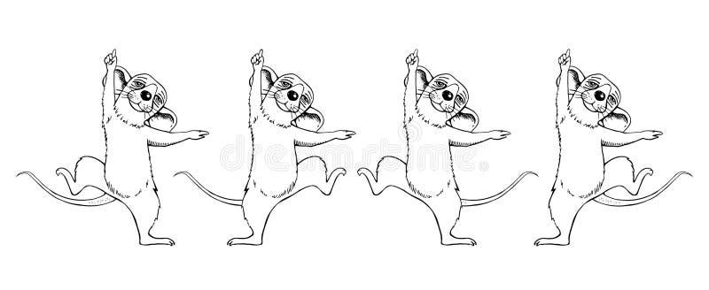 鼠动画草图跳舞的意象 集 库存例证