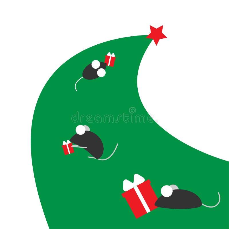 鼠或老鼠的新年 中国年的标志 老鼠在与礼物的一棵圣诞树跑 为您安置 皇族释放例证