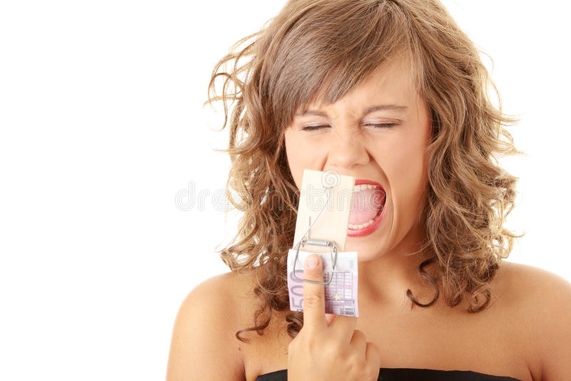 鼠标叫喊的陷井妇女 免版税库存照片