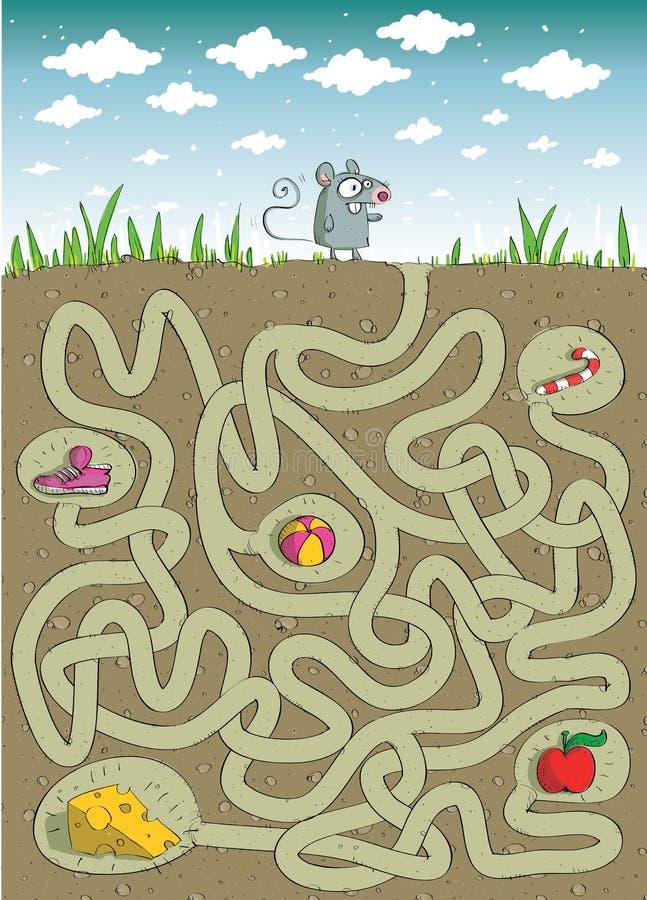鼠标和干酪迷宫比赛 库存例证