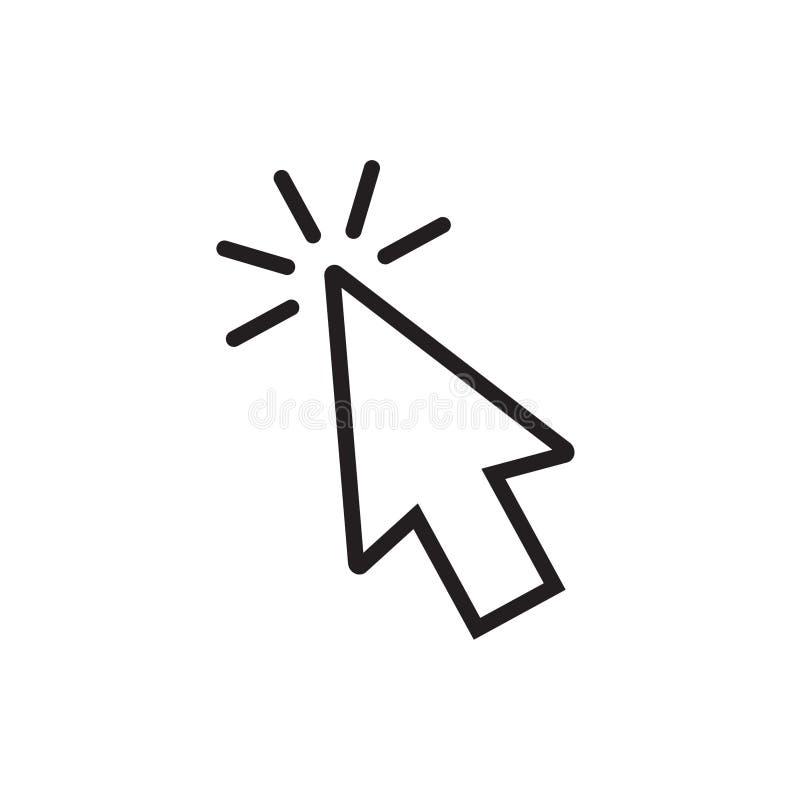鼠标箭头点击的或游标点击应用程序和网站的线艺术象 库存例证