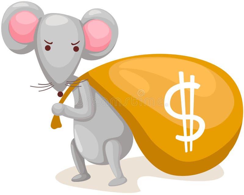 鼠标运载与货币的袋子 向量例证