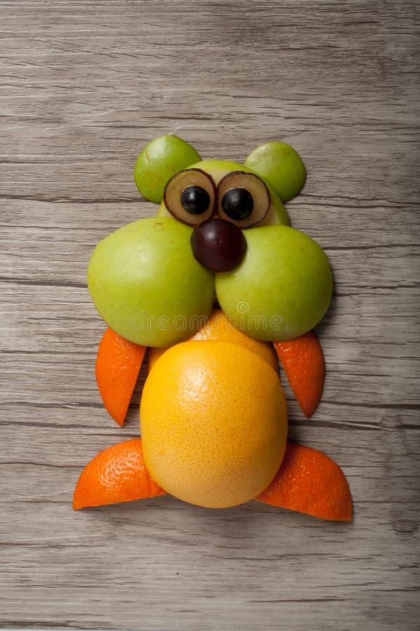 仓鼠由桔子、葡萄柚和苹果制成 库存图片