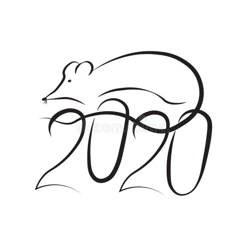 鼠的新年在东部占星术日历的和第2020年 画黄道带鼠剪影黑色的标志 免版税图库摄影