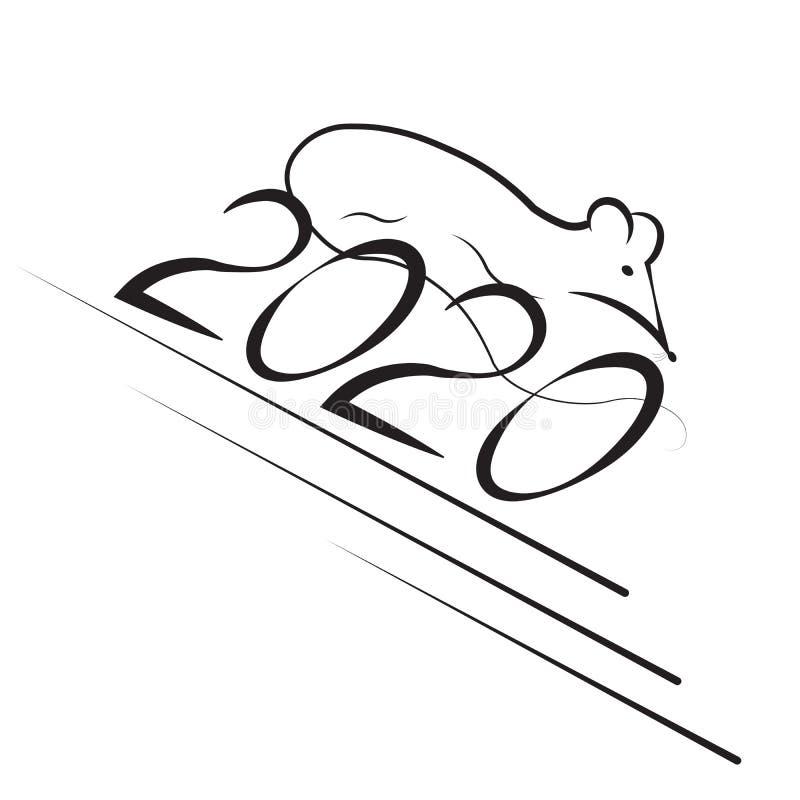 鼠的新年在东部占星术日历的和第2020年 画黄道带鼠赛跑的剪影的标志 库存照片