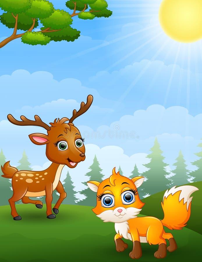 鼠鹿和婴孩在密林欺骗动画片 向量例证