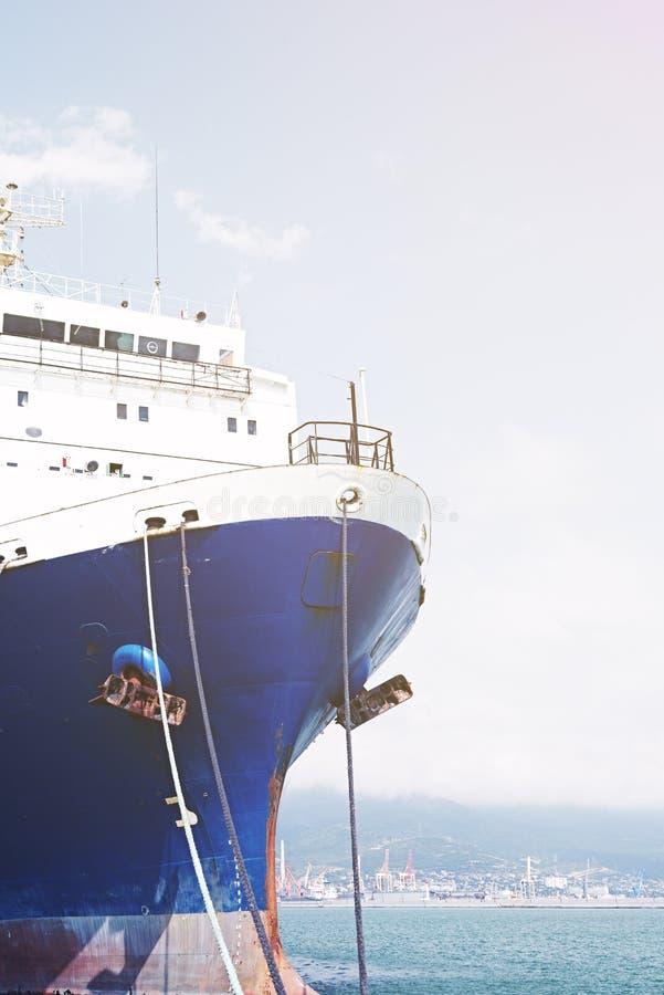 鼻子是被停泊的货船 库存照片