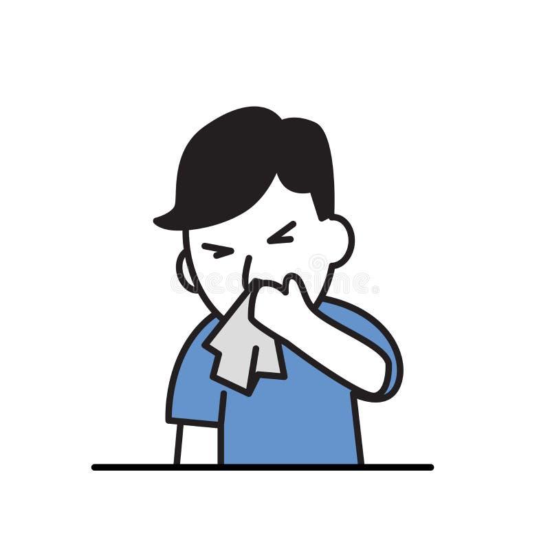 鼻子运行中 有手帕的病的男孩 动画片设计象 平的传染媒介例证 背景查出的白色 库存例证