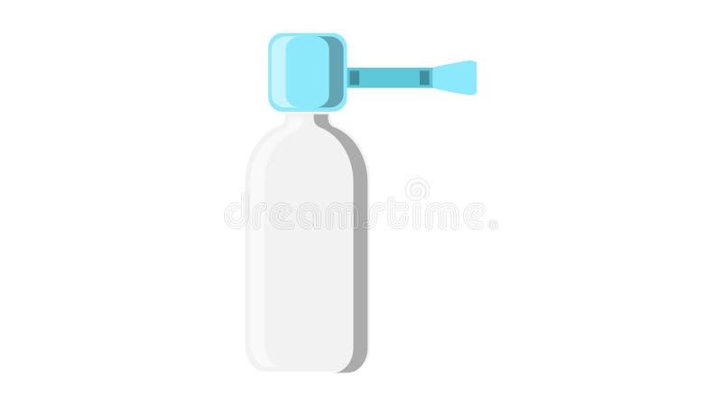 鼻炎和喉咙痛配药的治疗的一台美丽的医疗蓝色鼻孔喷射医学分配器 库存例证