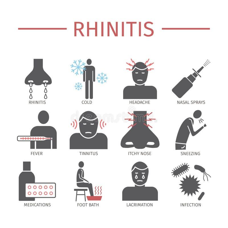 鼻炎 症状,治疗 被设置的平的象 传染媒介标志 皇族释放例证