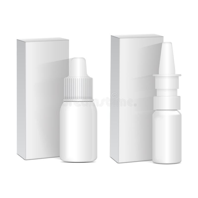 鼻的套浪花或眼睛防腐剂药物 有箱子的白色塑料瓶 感冒,过敏 传染媒介现实嘲笑 皇族释放例证