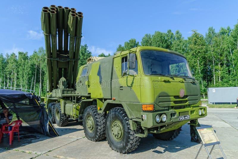 齐射火喷气机系统在卡车的 俄国 库存图片