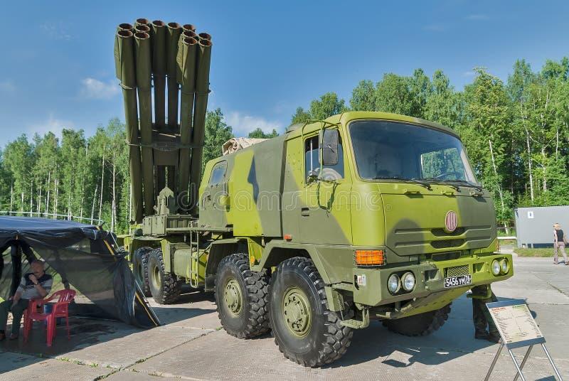 齐射火喷气机系统在Tatra皱褶的 俄国 免版税库存照片