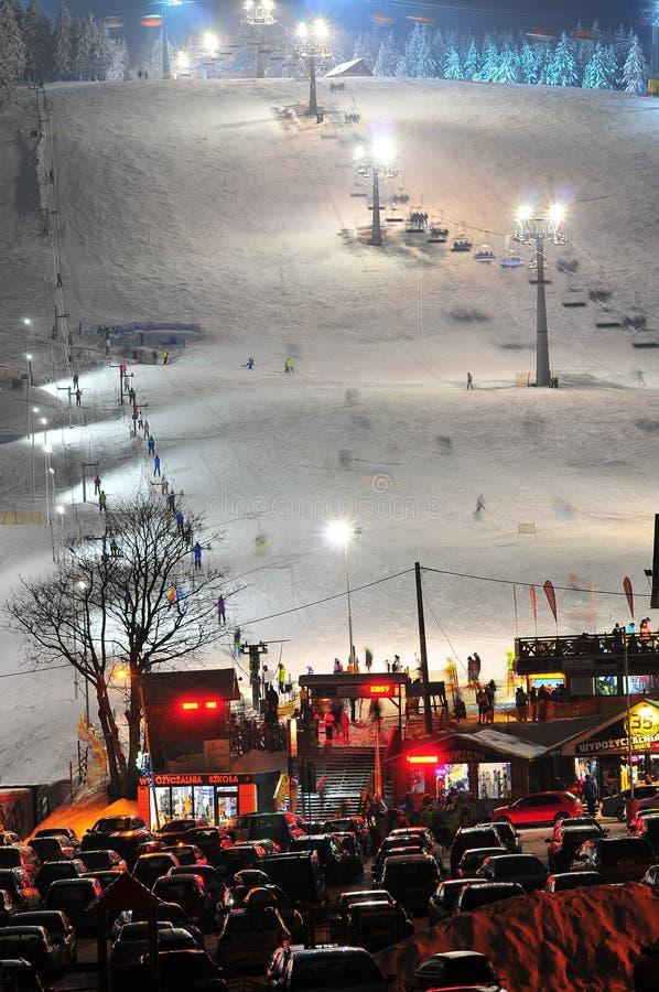 齐耶莱涅茨,最大的滑雪场在克沃兹科 免版税库存照片