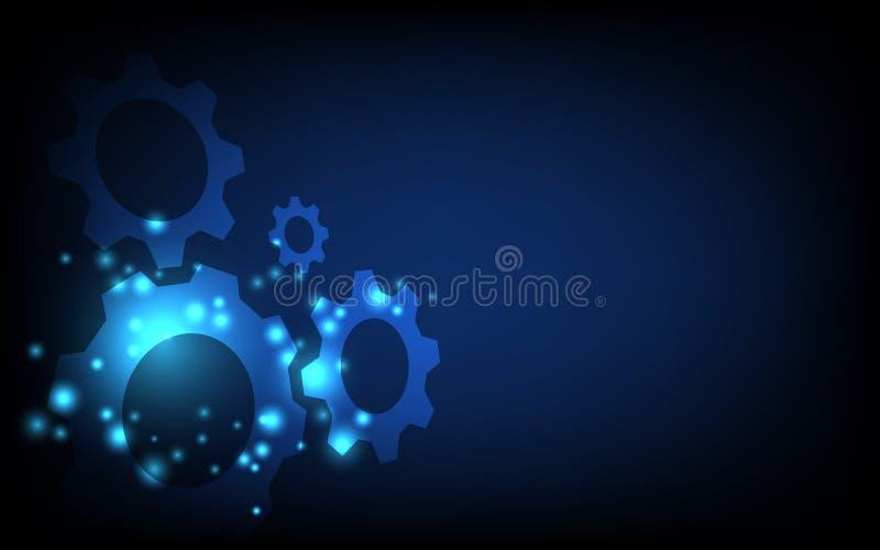 齿和齿轮机构 高科技数字技术概念、未来数字创新背景 向量例证