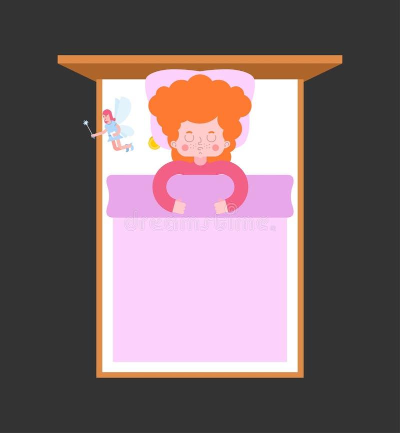 齿妖和女孩在床上 儿童休眠 向量例证