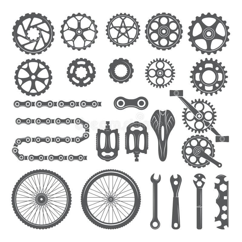 齿轮、链子、轮子和自行车的其他不同的零件 皇族释放例证