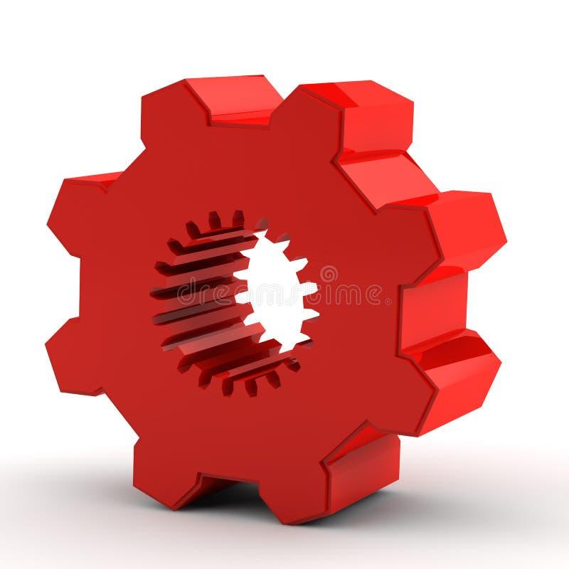 齿轮一红色 库存例证