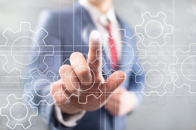 齿轮机构、数字变革、数据集成和数字技术概念 向量例证