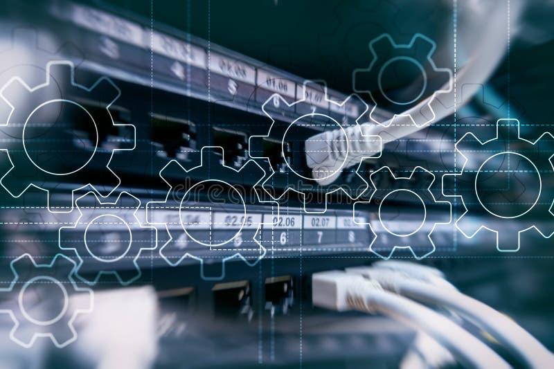 齿轮机构、数字变革、数据集成和数字技术概念 库存例证