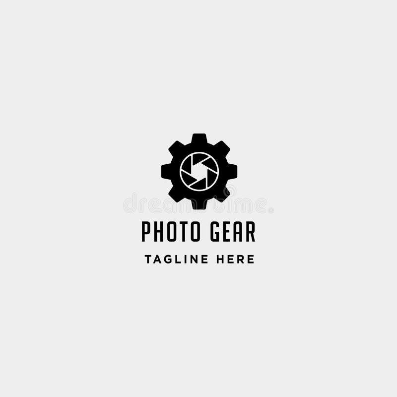 齿轮照片商标传染媒介摄影产业简单的线象标志标志隔绝了 皇族释放例证