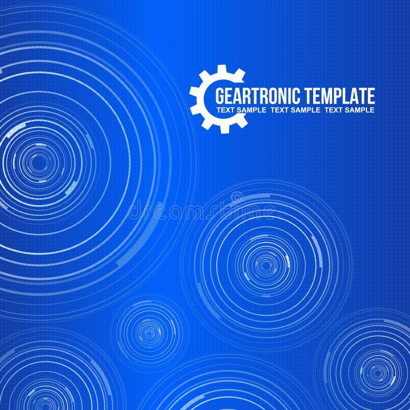 齿轮电子圈子和蓝色背景模板 皇族释放例证
