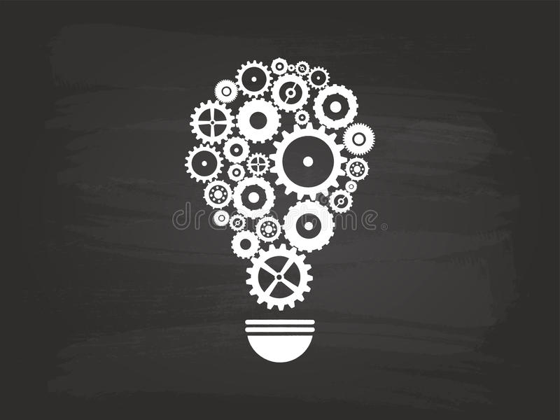 齿轮电灯泡想法概念 库存例证