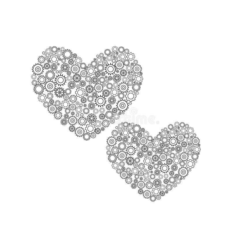 齿轮的两心脏 库存例证