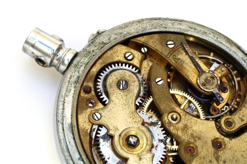 齿轮老口袋生锈的手表 免版税库存图片