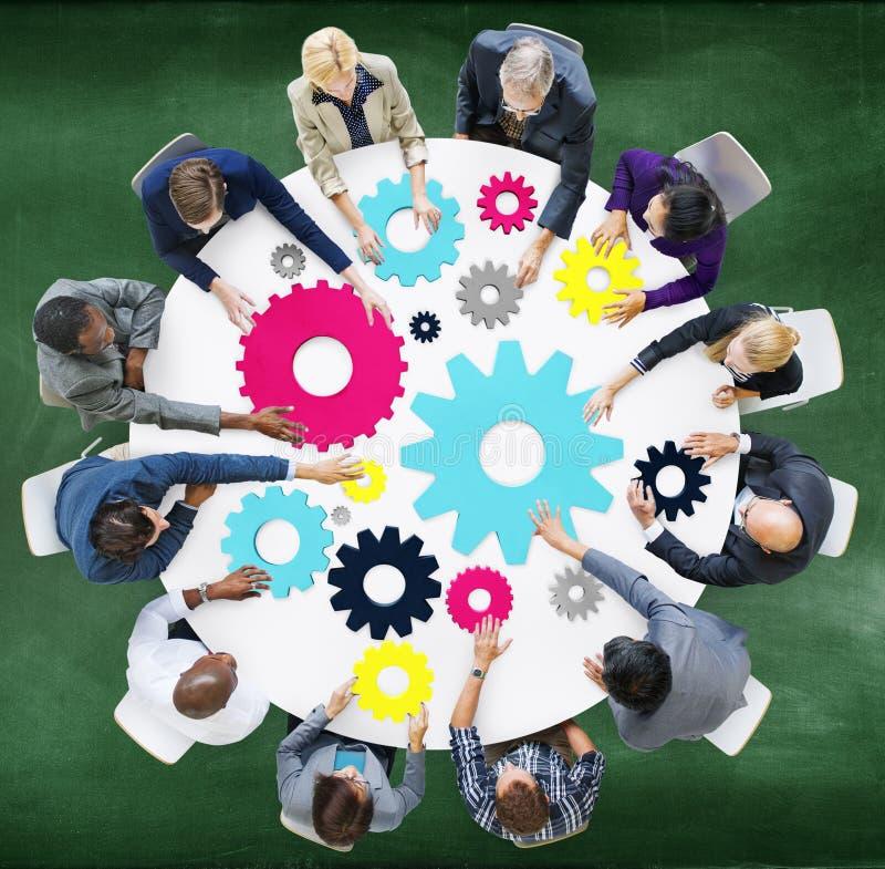 齿轮连接公司队配合会议概念 库存例证