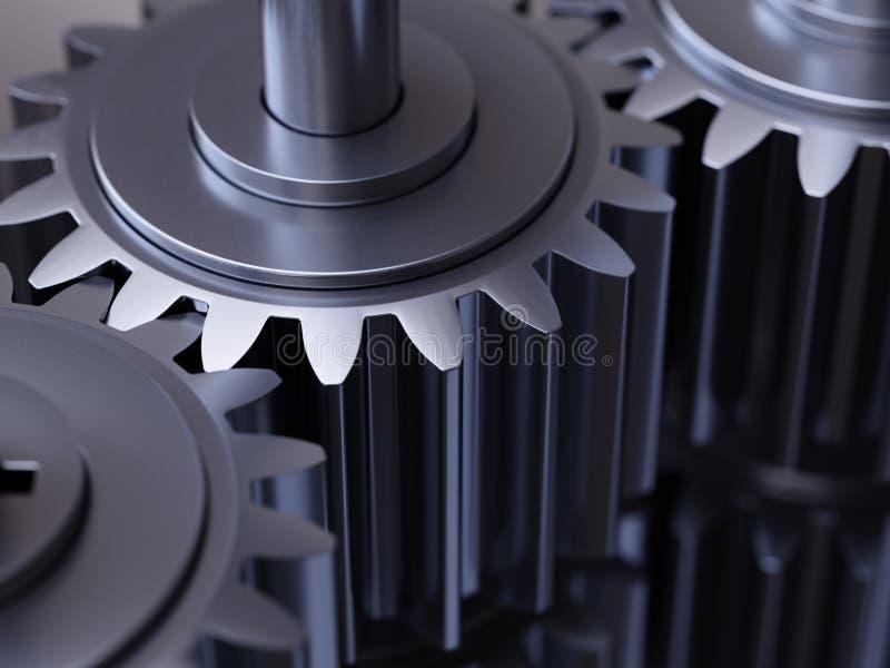 齿轮配合概念3d例证 免版税库存照片