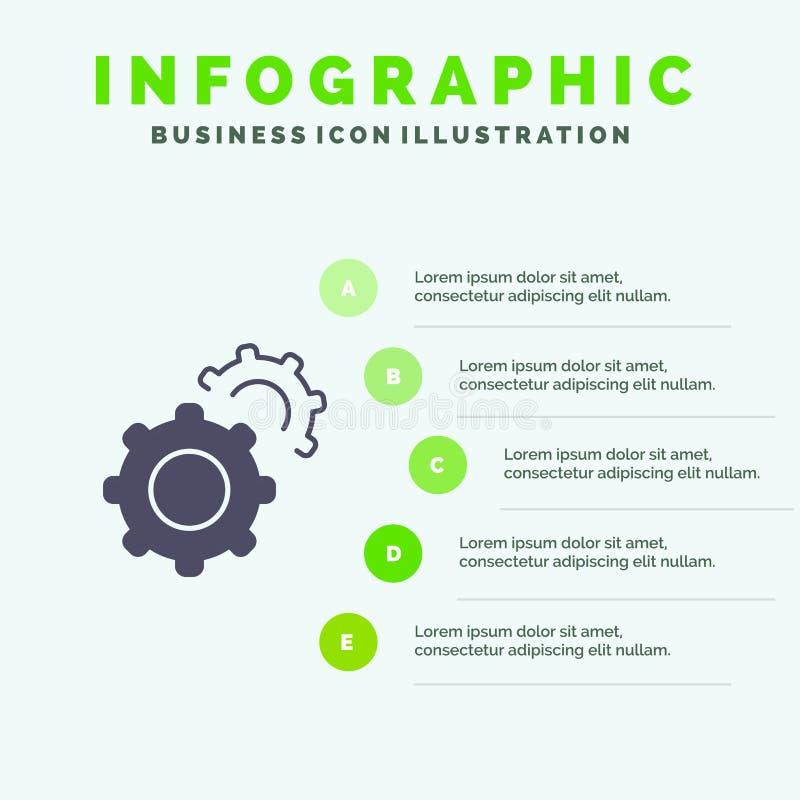 齿轮,齿轮,设置坚实象Infographics 5步介绍背景 皇族释放例证