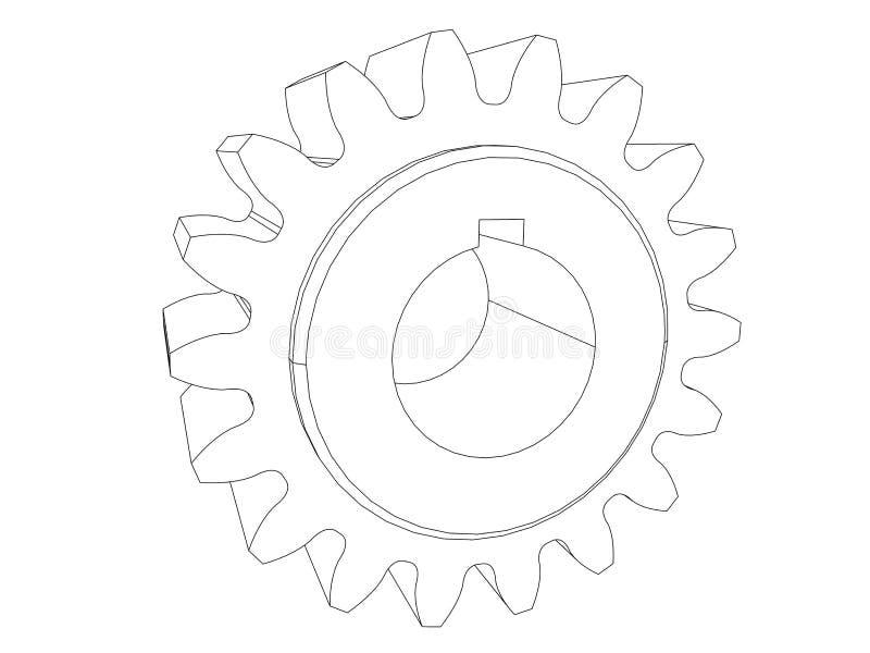 齿轮 工程图 黑色线路 库存例证