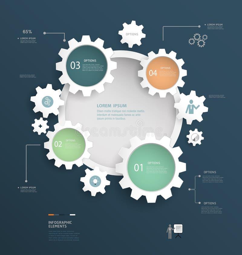 齿轮Infographics设计 皇族释放例证