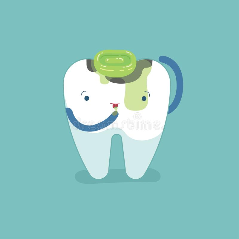 龋齿,因为吃甜糖果,牙齿概念 向量例证